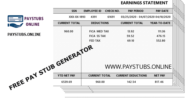 Generate Pay Stubs: online and free of charge